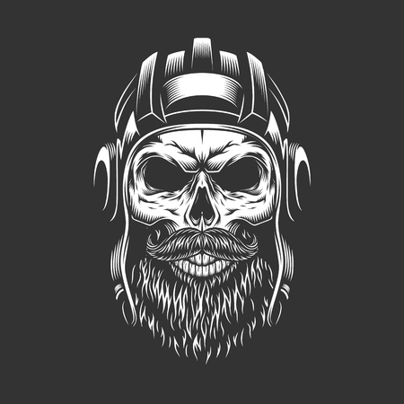 Vintage military skull in tankman helmet with beard and mustache isolated vector illustration Illustration
