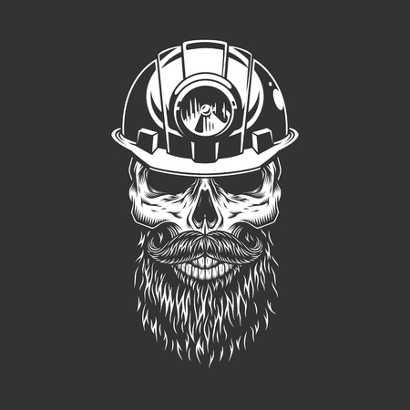 Vintage monochrome skull in miner helmet with beard and mustache isolated vector illustration Illustration