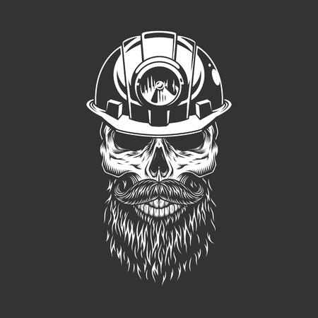 Vintage monochrome skull in miner helmet with beard and mustache isolated vector illustration Ilustração