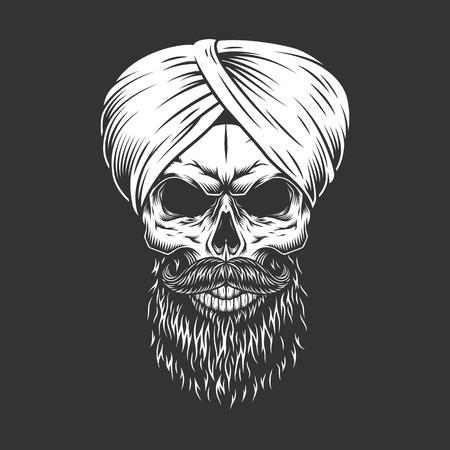 Cráneo hindú vintage en turbante indio con barba y bigote aislado ilustración vectorial