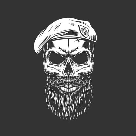 Cráneo de sello azul marino vintage en boina con barba y bigote en ilustración de vector aislado cráneo monocromo Ilustración de vector