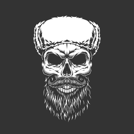 Monochrome skull in ushanka hat with beard and mustache in vintage style isolated vector illustration