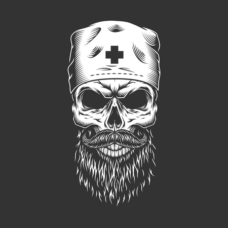 Doctor skull with beard and mustache wearing medical hat in vintage monochrome style isolated vector illustration