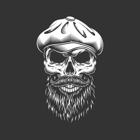 Vintage irish skull in gatsby hat with beard and mustache isolated vector illustration Illustration