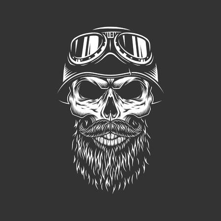 Cráneo de motociclista monocromo vintage en casco de motocicleta y gafas con barba y bigote aislado ilustración vectorial