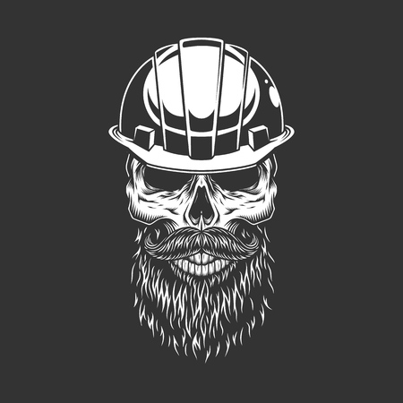 Vintage skull in builder helmet with beard and mustache in monochrome style isolated vector illustration Illustration