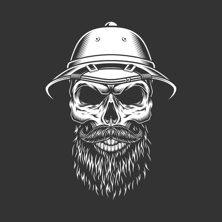 Vintage monochrome skull in safari hat with beard and mustache isolated vector illustration