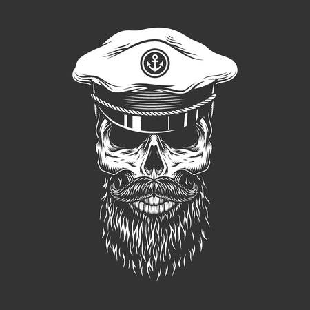 Vintage skull in sea captain cap with beard and mustache in monochrome style isolated vector illustration