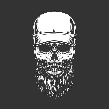 Vintage monochrome skull in baseball cap with beard and mustache isolated vector illustration