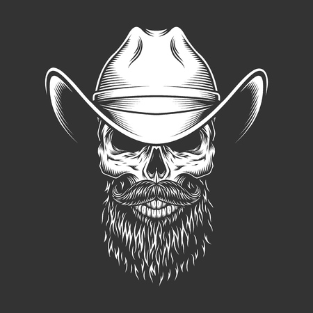 Monochrome skull in cowboy hat with beard and mustache in vintage style isolated vector illustration