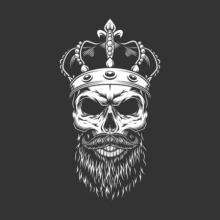 Vintage king skull in royal crown with beard and mustache isolated vector illustration Illustration