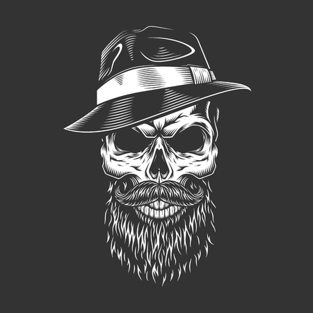 Gangster skull in fedora hat with beard and mustache in vintage monochrome style isolated vector illustration Illustration
