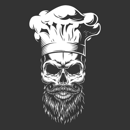 Vintage monochrome skull in chef hat with beard and mustache isolated vector illustration