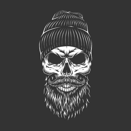 Cráneo de leñador monocromo vintage con barba y bigote aislado ilustración vectorial
