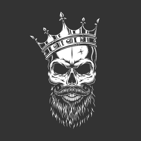 Vintage monochrome prince skull in crown with beard and mustache isolated vector illustration
