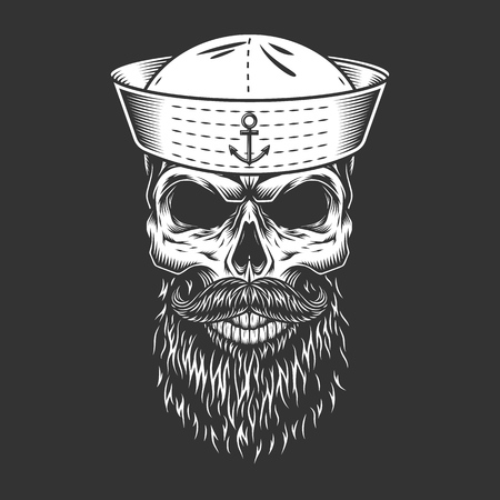 Vintage mariner skull in sailor hat with mustache and beard in monochrome style isolated vector illustration