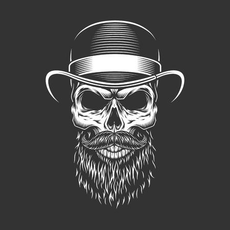 Cranio di gentiluomo vintage in cappello fedora con barba e baffi illustrazione vettoriale isolato Vettoriali
