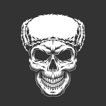 Vintage skull in russian ushanka hat in monochrome style isolated vector illustration