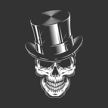 Gentleman skull wearing cylinder hat in vintage monochrome style isolated vector illustration