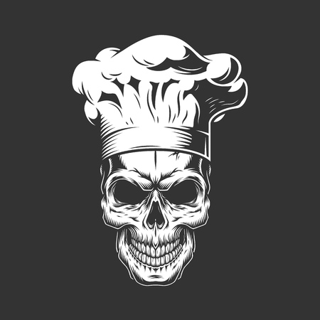 Vintage monochrome skull in chef hat isolated vector illustration