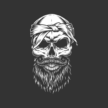 Skull with bandage mustache and beard in monochrome vintage style isolated vector illustration
