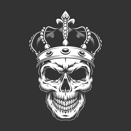 Vintage king skull wearing crown in monochrome style isolated vector illustration