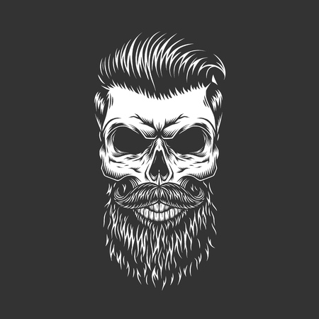 Bearded and mustached hipster skull with trendy hairstyle in monochrome vintage style isolated vector illustration