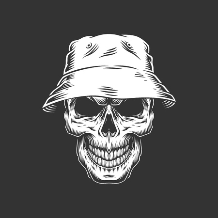 Vintage monochrome skull in panama hat isolated vector illustration  イラスト・ベクター素材