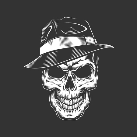 Vintage monochrome gangster skull in hat isolated vector illustration