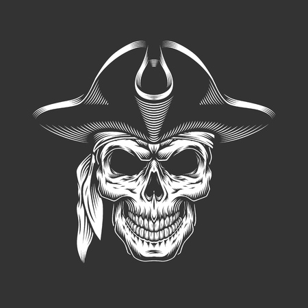 Monochrome pirate skull concept in vintage style isolated vector illustration Иллюстрация