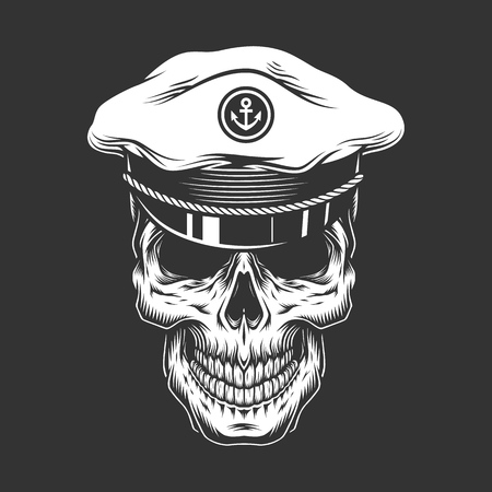 Vintage sea captain skull in monochrome style isolated vector illustration