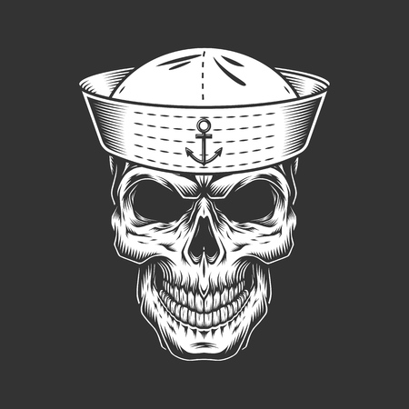 Vintage seaman skull in sailor hat in monochrome style isolated vector illustration