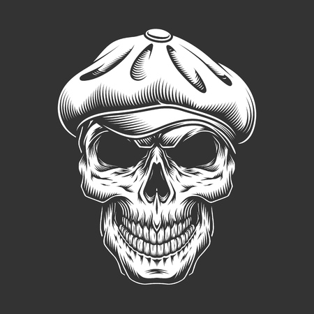 Vintage irish skull in tweed cap in monochrome style isolated vector illustration