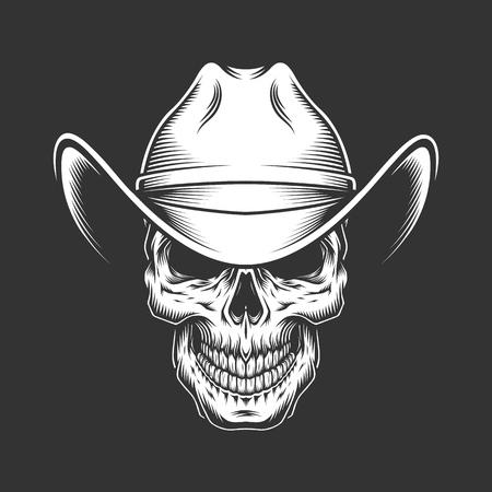 Cráneo monocromático vintage con sombrero de vaquero aislado ilustración vectorial