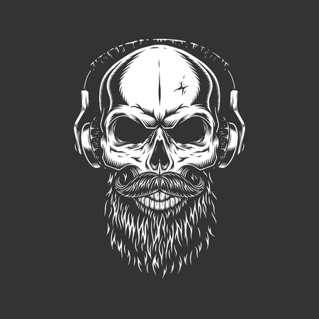 Vintage monochrome skull wearing headphones with beard and mustache isolated vector illustration