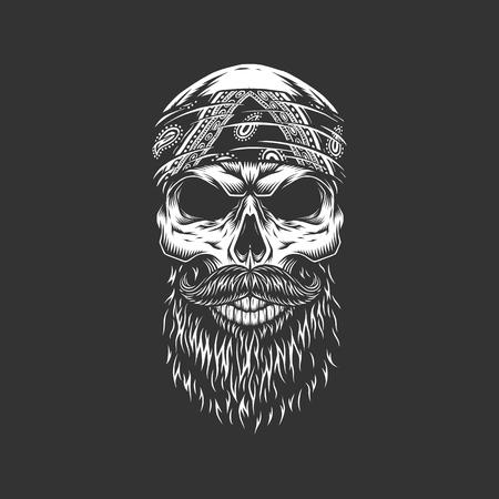 Vintage monochrome rocker skull in bandana with beard and skull isolated vector illustration 版權商用圖片 - 110747374