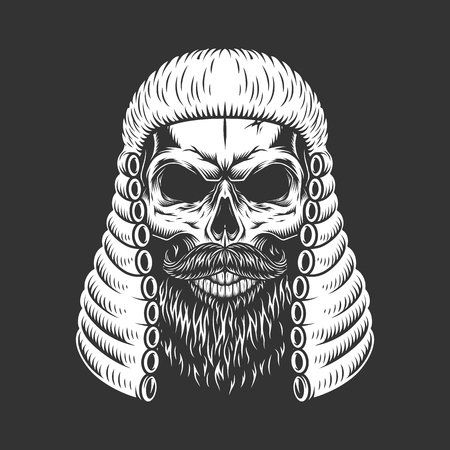 Vintage monochrome skull in judge wig with beard and mustache isolated vector illustration