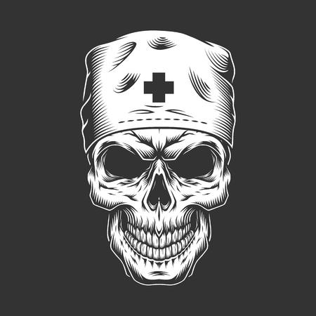 Vintage doctor skull in medical hat in monochrome style isolated vector illustration Vektoros illusztráció