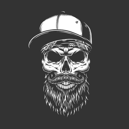Vintage monochrome bearded and mustached skull in baseball cap and bandana isolated vector illustration