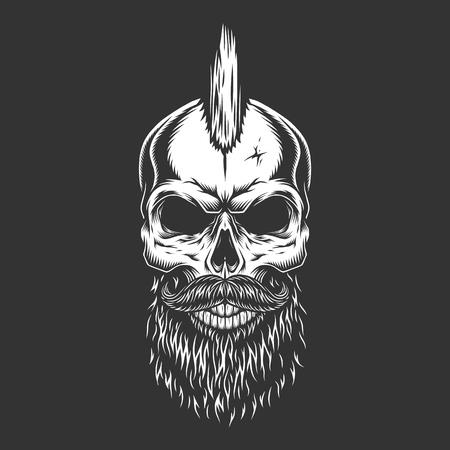 Cráneo masculino monocromo vintage con barba de peinado iroqués y bigote aislado ilustración vectorial