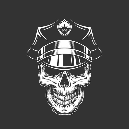 Monochrome policeman skull in police cap in vintage style isolated vector illustration
