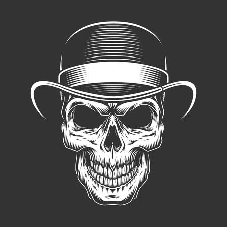 Vintage gentleman skull in fedora hat in monochrome style isolated vector illustration