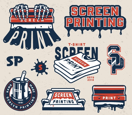 Vintage screen printing elements collection with squeegees letterings silkscreen shirts serigraphy label isolated vector illustration