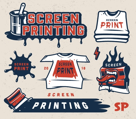 Screen printing colorful concept with inscriptions shirts paint blot squeegees brush in bucket can in vintage style isolated vector illustration