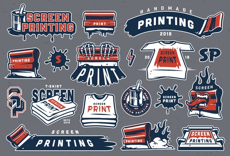 Collection of colorful serigraphy elements with screen printing letterings shirts industrial squeegees brush in bucket can paint splashes isolated vector illustration Ilustracja