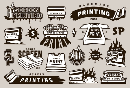 Big collection of screen printing elements with industrial equipment blots