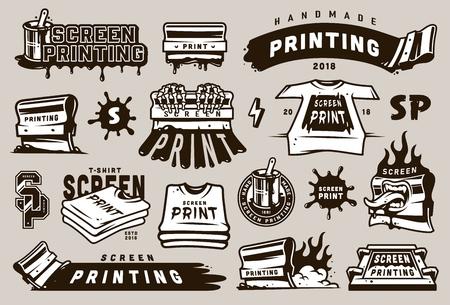 Gran colección de elementos de serigrafía con borrones de equipos industriales