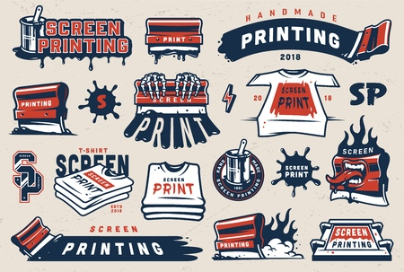Vintage colorful screen printing elements set with squeegees silkscreen serigraphy logos shirts paint blots isolated vector illustration Ilustração