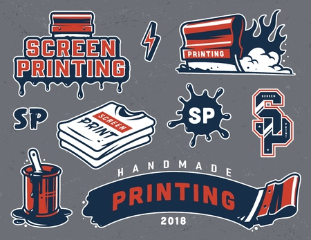 Vintage screen printing colorful elements set with squeegees shirts blot inscriptions brush in bucket can isolated vector illustration