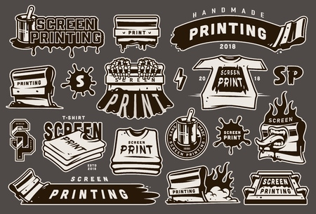 Vintage monochrome screen printing elements set with squeegees silkscreen inscriptions blots shirts lightning on gray background isolated vector illustration
